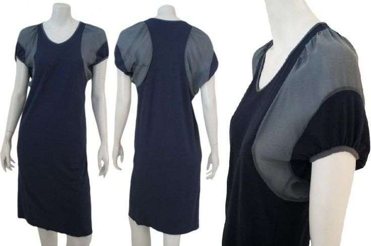 Straight #dress to knees with V-neckline, short curled sleeve with inset in different color on armholes and shoulders as on the neckline and sleeve edges made in Italy on sale. #Womenfashion #Shopping #Clothing