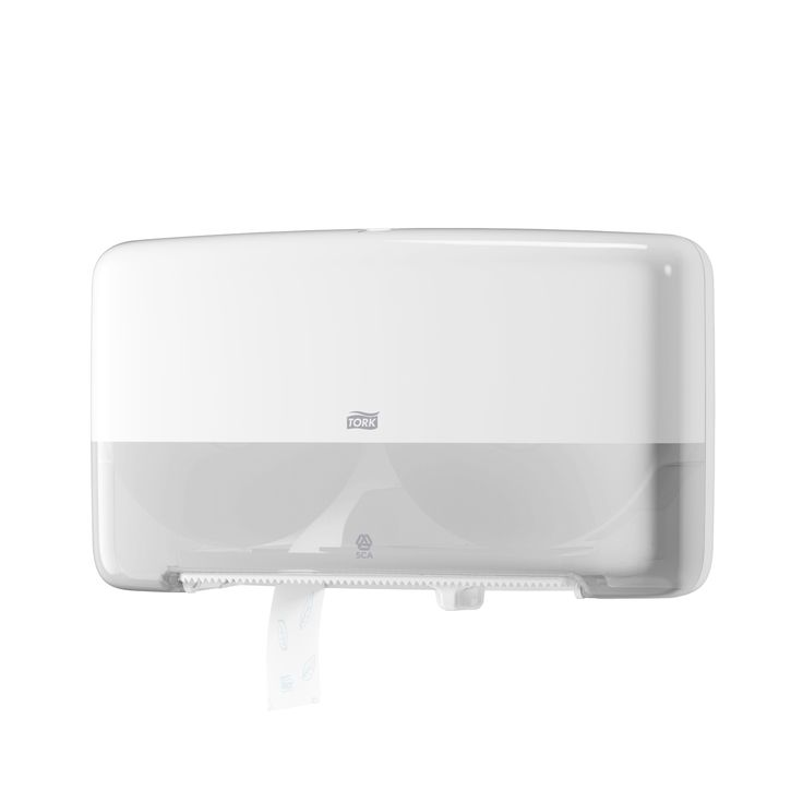 Tork Twin Mini Jumbo Toilet Roll Dispenser: The compact, yet high-capacity Tork Mini Twin Toilet Paper Dispensing System is the ideal choice for high-traffic washrooms as well as environments where efficience and reduced cost are priorities. (System: T2 - Mini jumbo toilet system; Material: Plastic; Height: 256 mm, Width: 432 mm, Depth: 146 mm; Color: White) Get more information about this product: http://bimobject.com/en/sca-eu/product/555500/sca-tork-eu