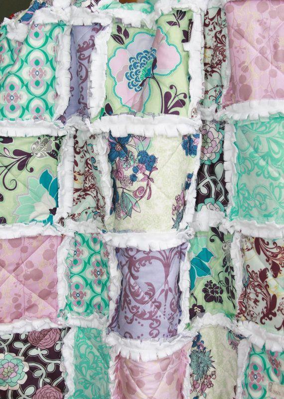 Baby+Girl+Rag+Quilt+Purple+Aqua+Nursery+by+justluved+on+Etsy,+$89.95