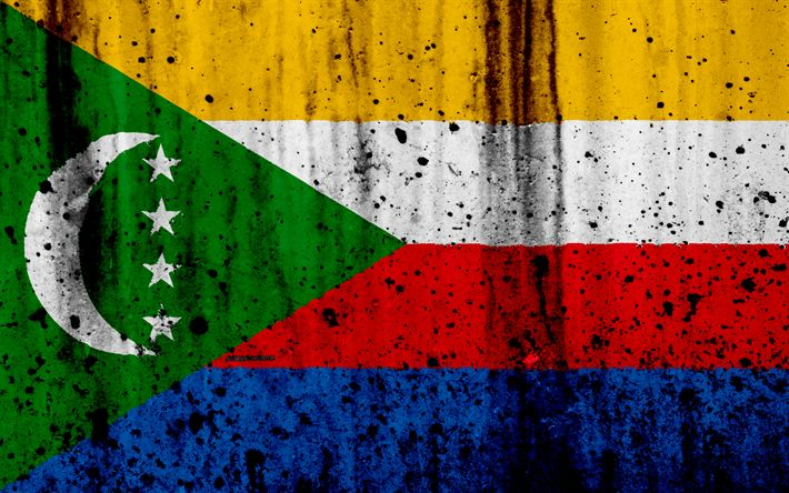Download wallpapers Comoros flag, 4k, grunge, Comoros of Benin, Africa, Comoros, national symbols, Comoros national flag