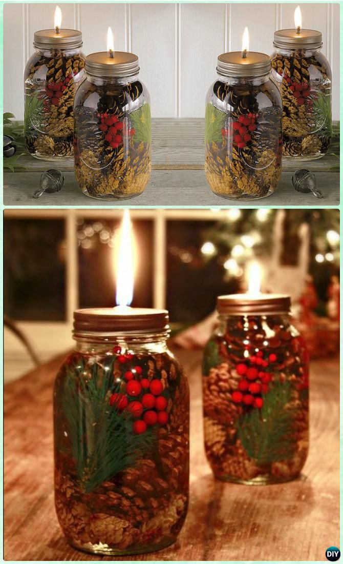 Holiday Scented Mason Jar Oil Candle Instruction -DIY Christmas Mason Jar Lighting Craft Ideas