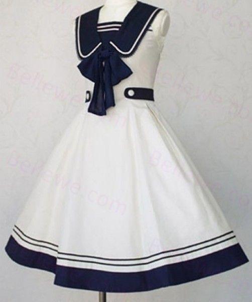 2016新款春夏女装Lolita洛丽塔海军风海军领日系水手服无袖连衣裙