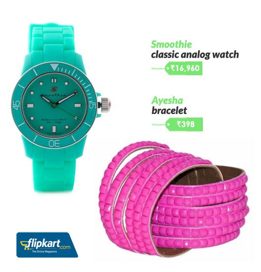 Candy coloured watch and bracelet
