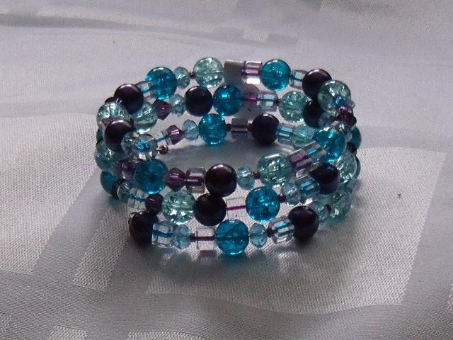 Blue and purple memory wire bracelet