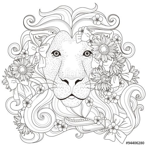 Vektor Lovely Lion Coloring Page