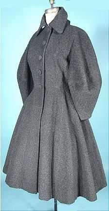 """late 1940's LILLI ANN, Paris """"New Look"""" Gray Patterned Wool Coat. A repin but from a slightly different angle. A gorgeous coat. Look at those amazing sleeves!"""