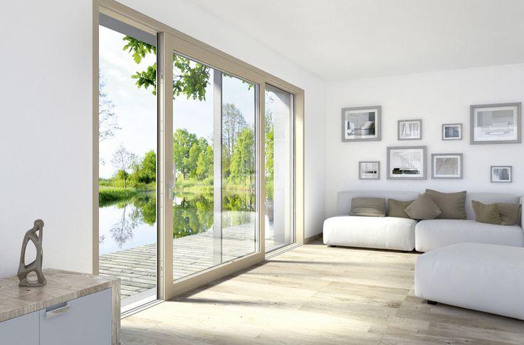 Internorm HS330 - Alzante Scorrevole in Legno/Alluminio per Casa Passiva con Soglia a Filo Pavimento in Fibra di Vetro