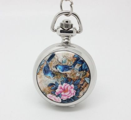 Bird Pocket Watch Necklace – Silver