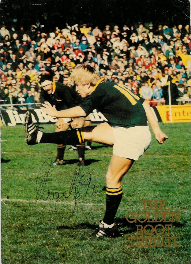 A booklet for a testimonial dinner to celebrate the career of Naas Botha, a second-hand 26 page booklet in good condition, SIGNED TO THE FRONT COVER by NAAS BOTHA.- He was a great player