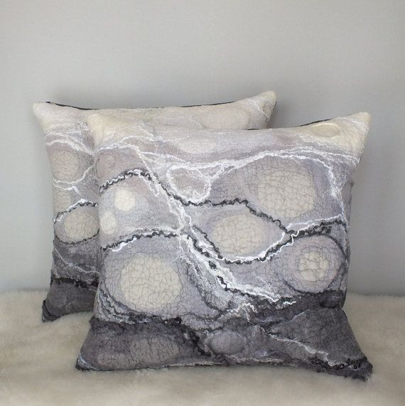 Gray Felted Pillow Covers Set of 2 Felt Cushion Covers Two