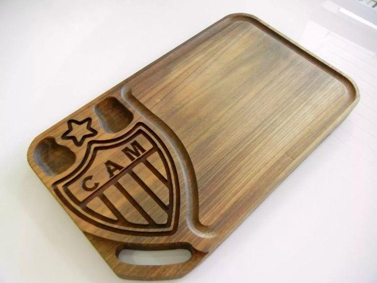Tábua de carne em madeira para churrasco personalizada time Atlético Mineiro - Adrishop - Sua Loja de Variedades