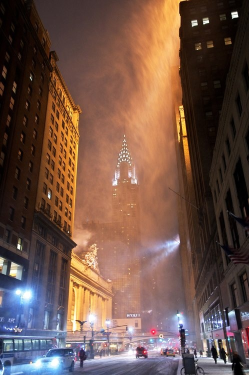 The Chrysler Buidling Under a Snow Storm, New York