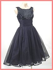 60's Mad Men Style Black Sequined Chiffon Full Party Dress