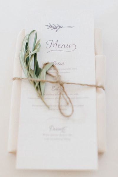 The menu with twine and an olive branch: http://www.stylemepretty.com/little-black-book-blog/2014/12/29/rustic-elegance-at-willowdale-estate/ | Photography: Erin McGinn - http://www.erinmcginn.com/