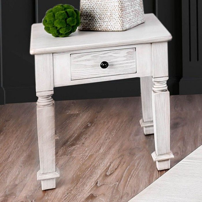 Joliet By Furniture Of America End Table Cm4089e Antique White Finish