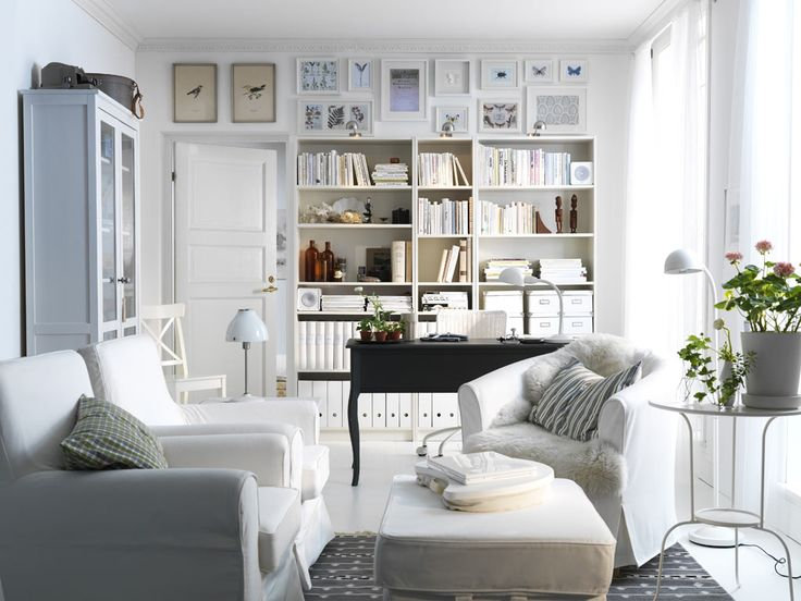 """Live big in a small space"" living room inspiration from Ikea:    A highly functional workspace with storage for your books and papers, somewhere to display your beautiful things and a comfortable seating area."