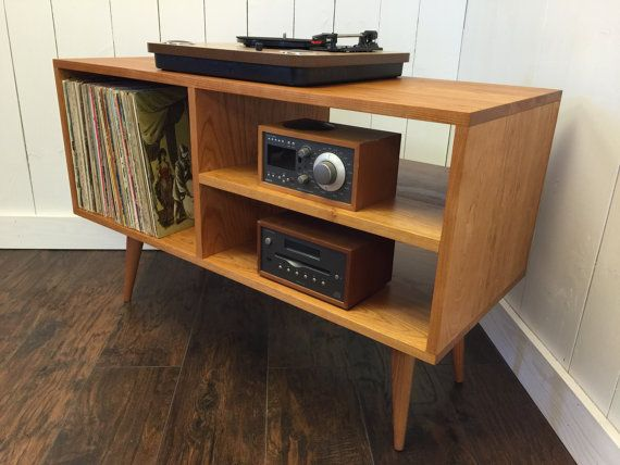 Exceptional New Mid Century Modern Record Player Console, Turntable, Stereo Cabinet  With LP Album Storage.