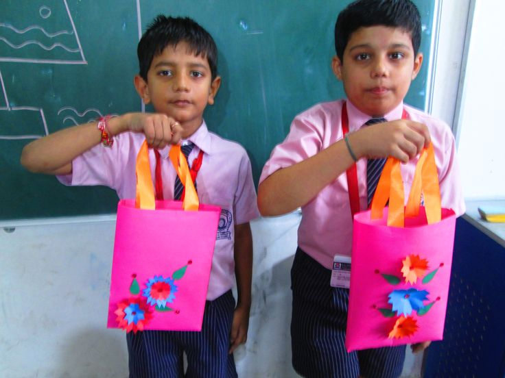 Ashwin and subodh made attractive pink colour bags out of tinted paper.