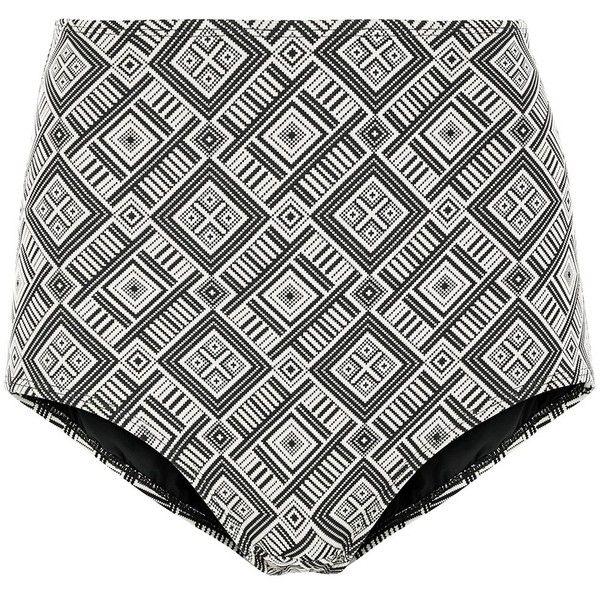 Prism Geometric Tile High-Waisted Bikini Bottoms ($130) ❤ liked on Polyvore featuring swimwear, bikinis, bikini bottoms, neutrals, bandeau bikini top, full coverage bikini bottom, high waisted bikini, high rise bikini bottom and high waisted bikini bottom swimwear