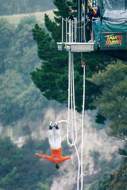 Bungy jumping in New Zealand! I can feel my stomach doing loop-t-loops just looking at this!