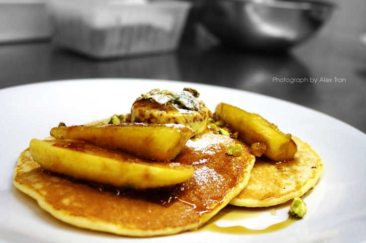 Ricotta pancakes with grilled banana and honeycomb butter ~ back on the menu for autumn/winter