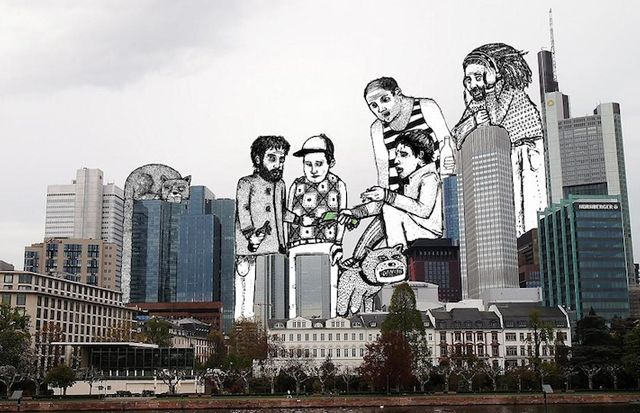 """French artist Thomas Lamadieu creates his """"sky art"""" by combining photography and line drawings"""