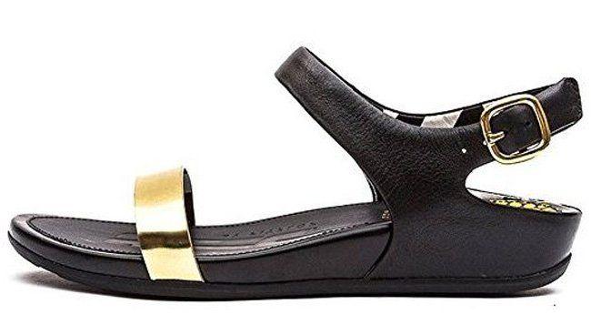 """#FitFlop Fitness Schuhe - """"Banda"""" Sandale mit Fersenriemen und Schnalle, schwarz-gold."""
