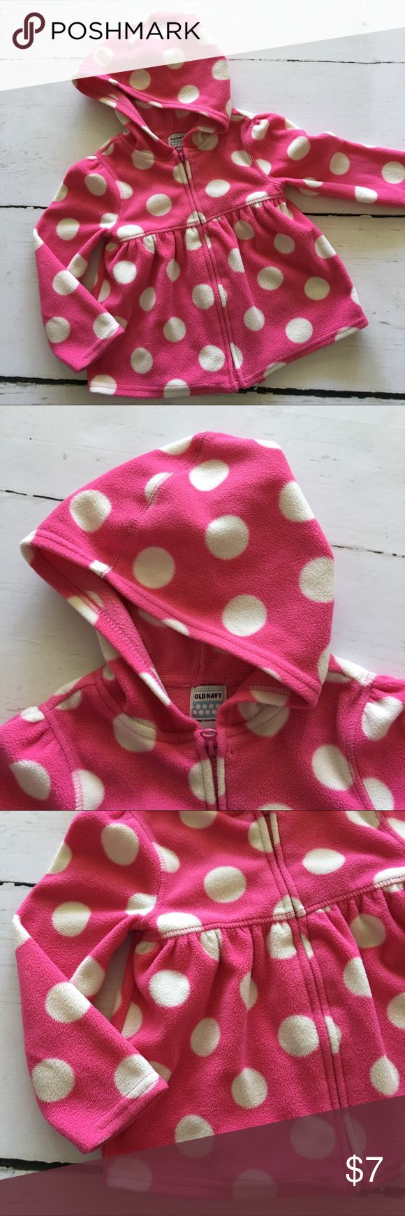 💗Old Navy Hoodie💗 Cute fleece polka dot zip up hoodie by Old Navy. Worn but still in great shape! Old Navy Shirts & Tops Sweatshirts & Hoodies