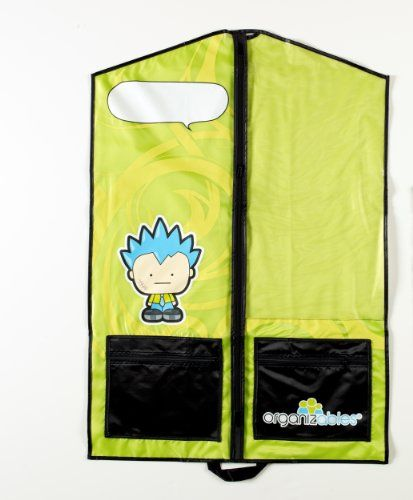 Organizables Children's Hanging Clothes Organizer, Boys Single Deluxe Garment Bag, Green:   The Organizables single garment bag provides the same solutions as the larger weekday and weekend organizable sets. Use the single garment bag to keep special occasion outfits protected and separate from everyday clothing. Great for keeping sports uniforms organized and easy to find. The single garment bag is nice for travel as well. The single garment bag has a brightly colored design and kids ...