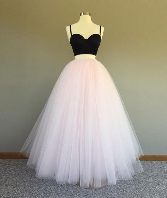 Cute two pieces light pink long prom dress, evening dress