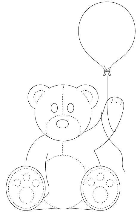 Dibujo de oso con globo