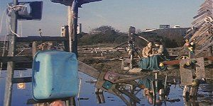 Harold and Maude 1971. Ruth Gordon and Bud Cort . Scenes filmed at the mudflats sculptures located west of 80/580 highway in Emeryville California between Powell and Ashby Street exits