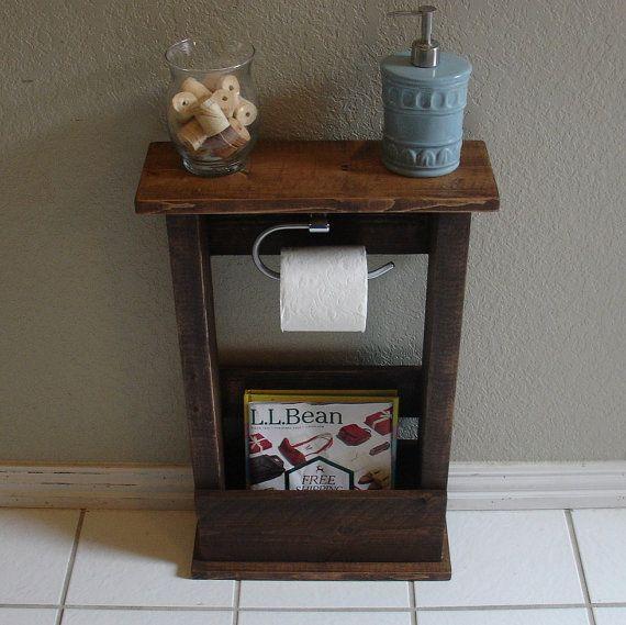 stand de support papier toilette artisanal avec tag re et rangement poche le compl ment. Black Bedroom Furniture Sets. Home Design Ideas