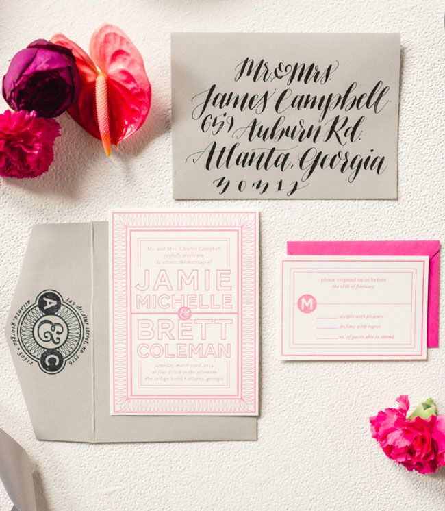 modern tropical invitation