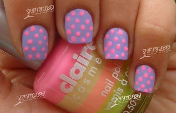 Pastel Purple with Neon Pink Polka Dots
