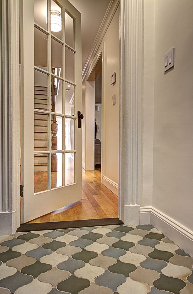 Parlor entry with cement tiles