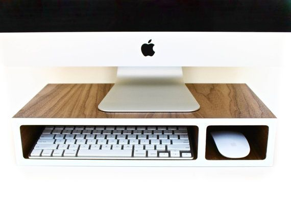 "Walnut Computer Stand, Monitor Stand, sustainable Walnut with Colored Laminate, 17"" with 2 Openings for Wireless Accessories"