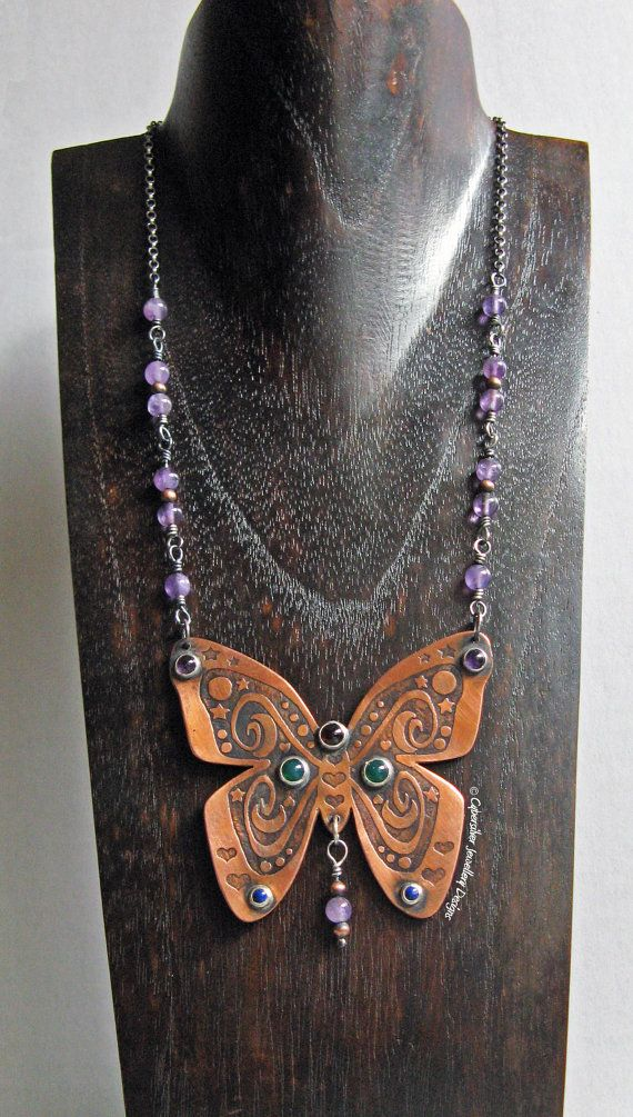 Etched Copper and Silver Butterfly by CybersilverJewellery