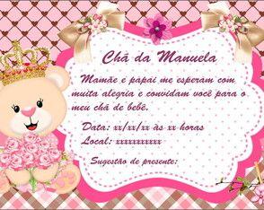 Convite Cha De Bebe Ursinha Princesa Convite Aniversario Davi