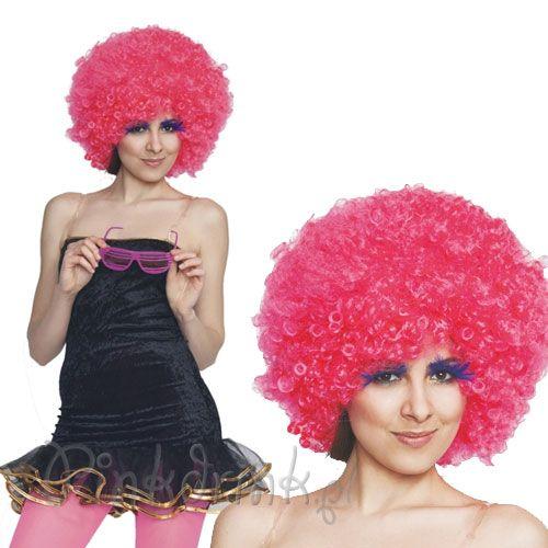 PERUKA różowe Afro