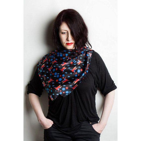 Hummingbirds on black square silk satin scarf  Women fashion