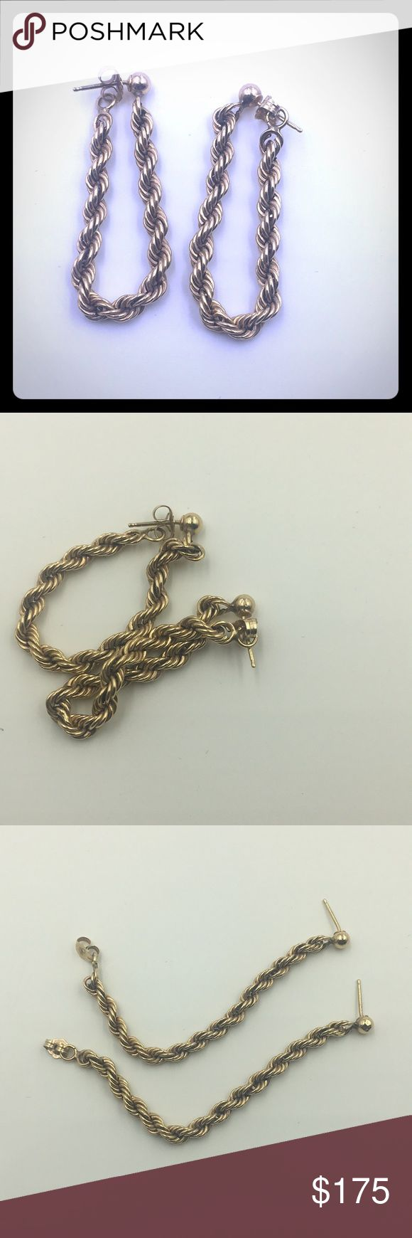 14k gold rope chain loop earrings Unusual! 14k Gold rope earrings.   Posts go in through the front close in back making the full loop.  Earrings are acid tested 14k gold and are guaranteed.  The earrings weigh 3.5 grams! Gold Jewelry Earrings