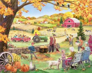 Countryside Autumn Jigsaw Puzzle | 1000 Piece Puzzles | Vermont Christmas Co. VT Holiday Gift Shop | Artwork by Randy Wollenmann