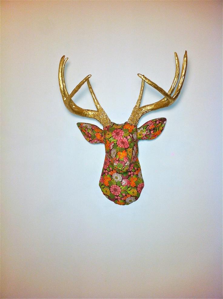 Faux Fabric Deer Head Wall Mount  Vibrant Floral by NearAndDeer, $194.99