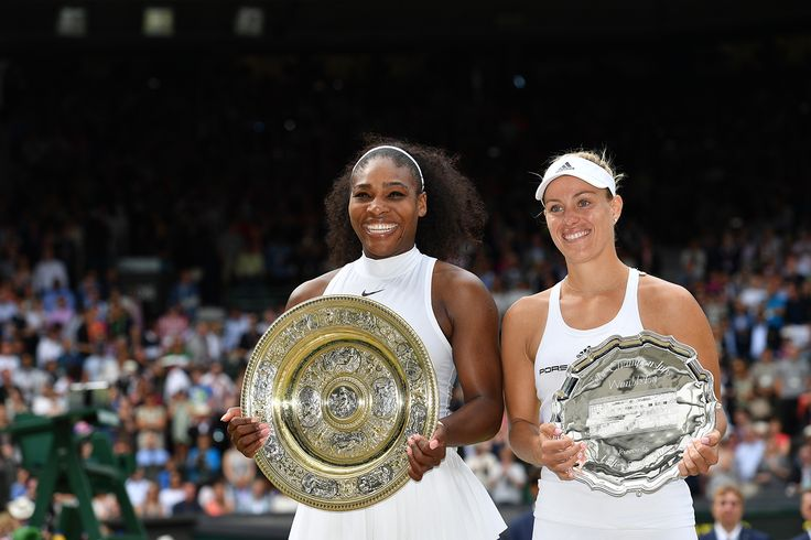 Serena Williams and Angelique Kerber, pose with their trophies after their finals match