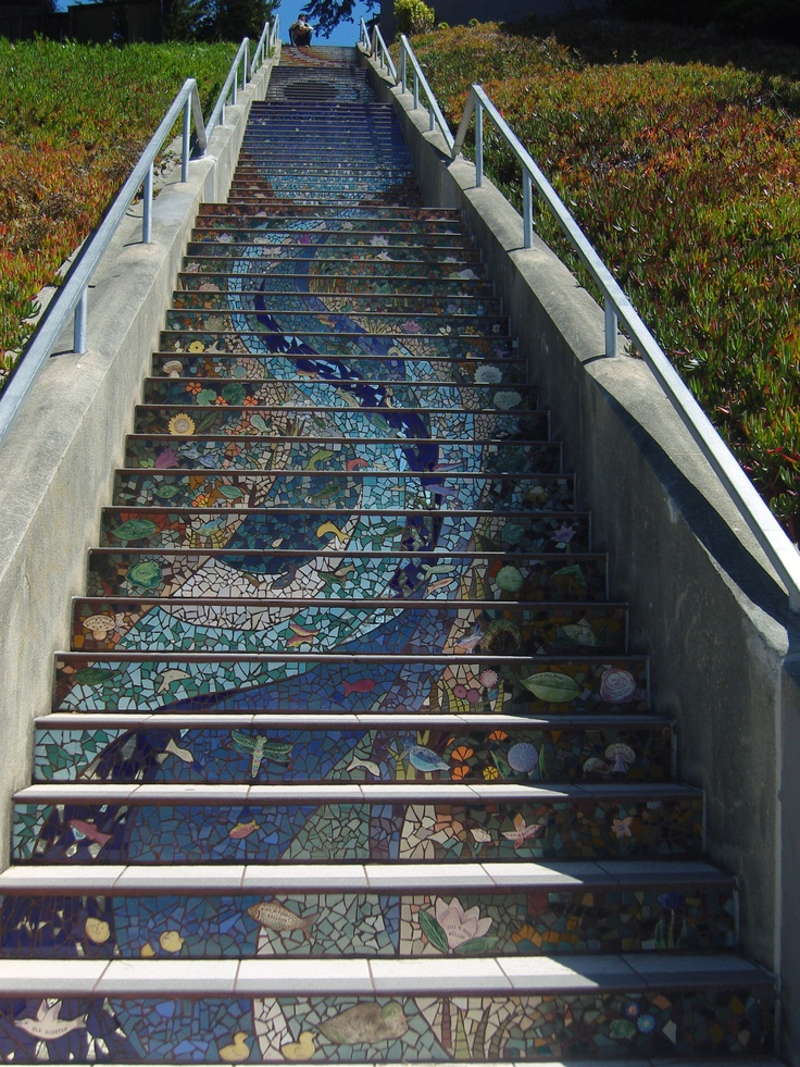 Outdoor Stairs: Stairs Outdoor, House Ideas, Waterfall Tiled, Gardening Ideas, Outdoor Stairs, Patio Ideas, Step, Mosaic Waterfall