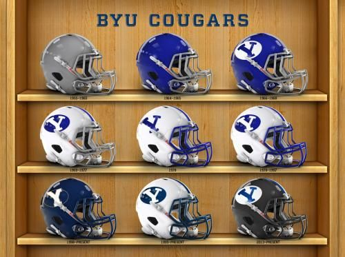BYU football helmets collection from past to present.