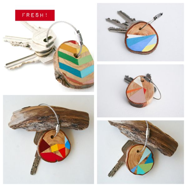 Portachiavi / Colorful geo wood keychain handmade #diy