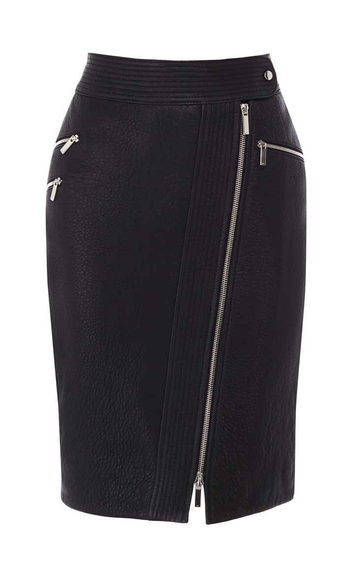 Zip leather pencil skirt | Luxury Women's Urban | Karen Millen