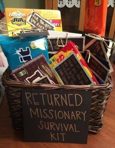 Returned Missionary survival kit  Great welcome home gift for Elders and  SistersBest 25  Welcome home gifts ideas on Pinterest   String art  . Gift Basket Ideas For Welcome Home. Home Design Ideas